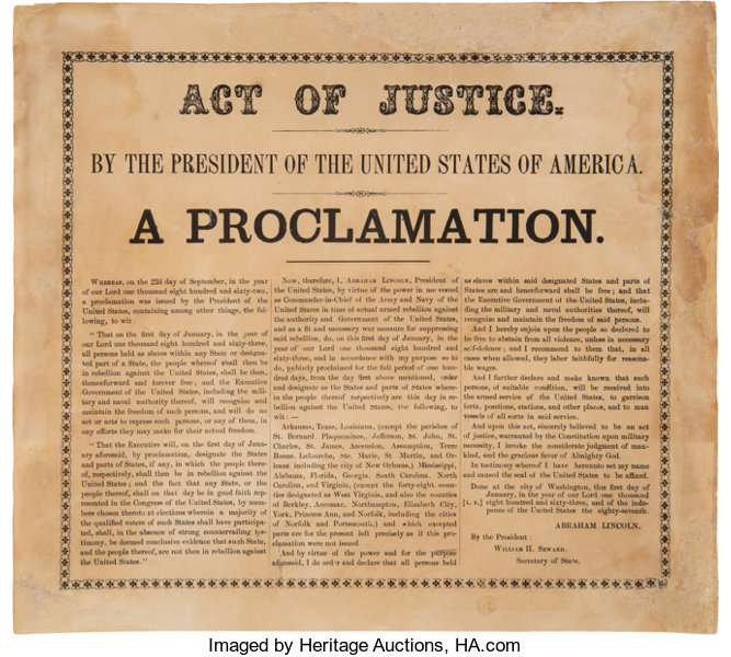 Preliminary Emancipation Proclamation, September 22, 1862